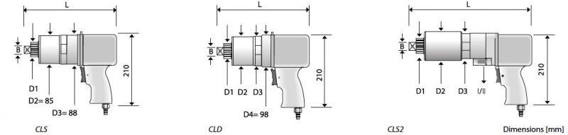 bản vẽ kích thước cờ lê nhân lực chạy khí nén Alktronic.