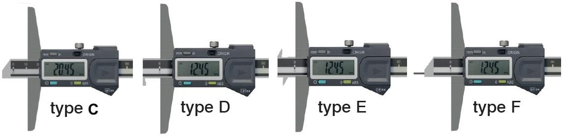 kiểu đầu đo của thước cặp đo sâu điện tử