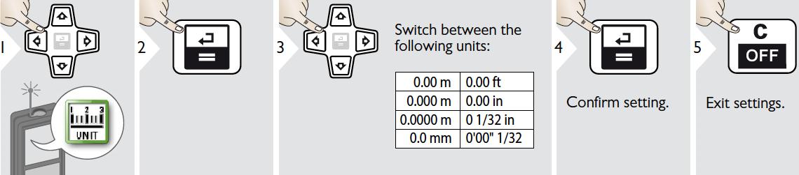 Tùy chọn đơn vị đo khoảng cách LD520
