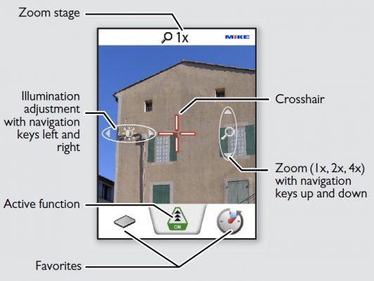 màn hình pointfinder của máy đo khoảng cách LD520